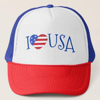 I Love USA Patriotic July 4th American Flag Heart Trucker Hat