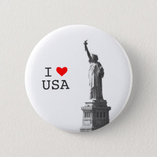 I Love USA Red Heart Liberty Status Vintage Photo 2 Inch Round Button