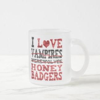 I love vampires werewolves  honey badger frosted glass mug