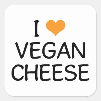 I Love Vegan Cheese Square Sticker