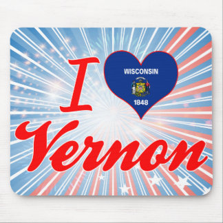I Love Vernon, Wisconsin Mouse Pads