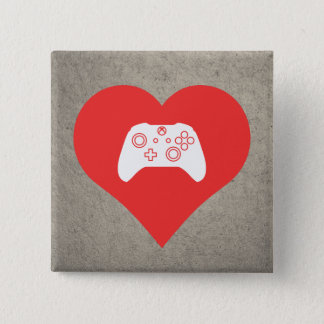 I Love Video Game Controls Cool Symbol 2 Inch Square Button