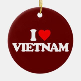 I LOVE VIETNAM ROUND CERAMIC ORNAMENT