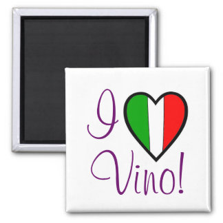 I Love Vino-Italian Flag Magnet
