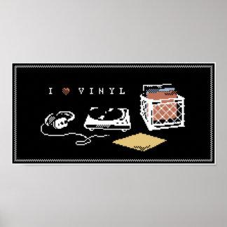 I Love Vinyl Pixel Art Poster