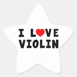 I Love Violin Star Sticker