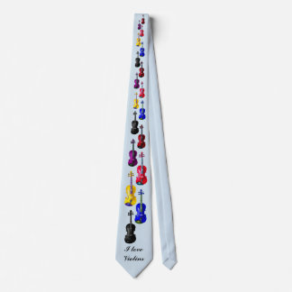 I LOVE VIOLINS-CHANGEABLE BACKGROUND COLOR TIE
