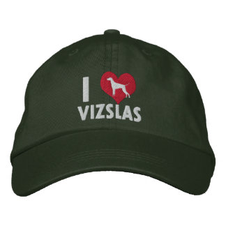I Love Vizslas Dark Embroidered Hat