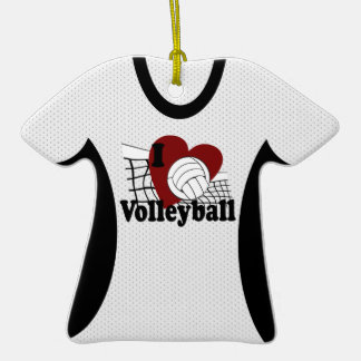 I Love Volleyball Jersey Photo Keepsake Double-Sided T-Shirt Ceramic Christmas Ornament