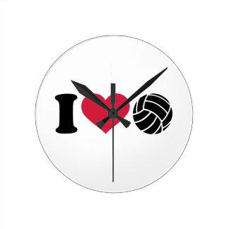 I love Volleyball Round Clock