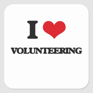 I love Volunteering Square Sticker
