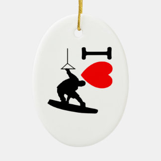 I LOVE WAKEBOARDING CERAMIC ORNAMENT