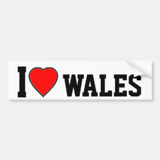 I Love Wales Bumper Sticker