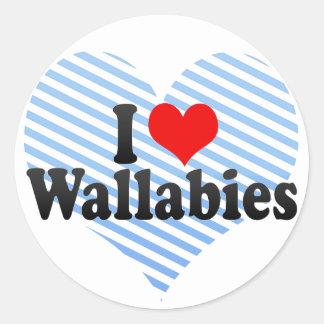 I Love Wallabies Classic Round Sticker