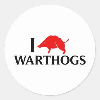 I Love Warthogs Classic Round Sticker