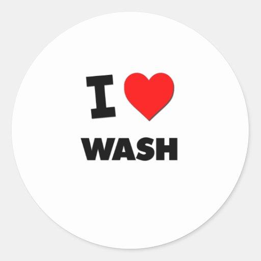 I love Wash Round Stickers