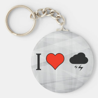 I Love Watching Lightnings Basic Round Button Keychain