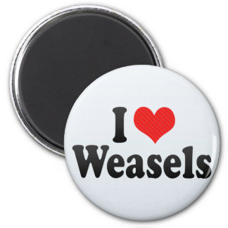 I Love Weasels 2 Inch Round Magnet