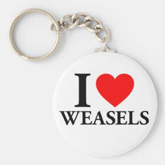 I Love Weasels Keychain