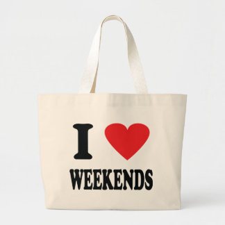 I love weekends icon large tote bag
