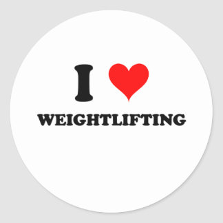 I Love Weightlifting Classic Round Sticker