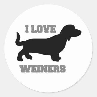 I Love Weiners Classic Round Sticker