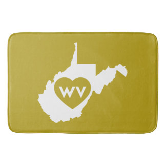I Love West Virginia State (White) Bath Mats