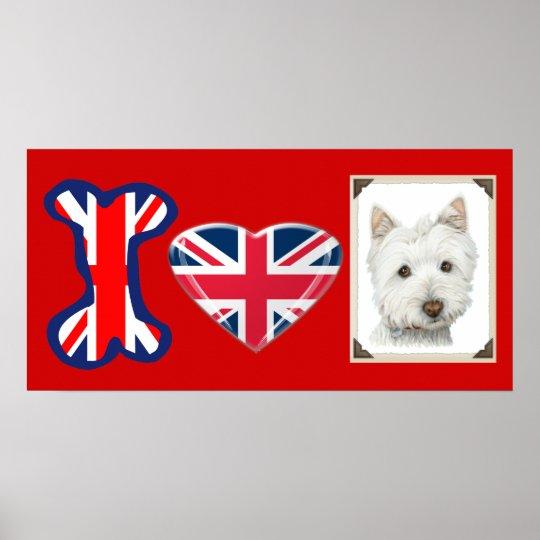 I love Westie Dog, Union Jack Poster