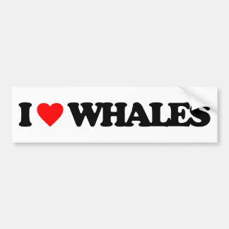 I LOVE WHALES BUMPER STICKER