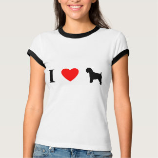 I Love Wheaten Terriers Ladies Ringer T-Shirt