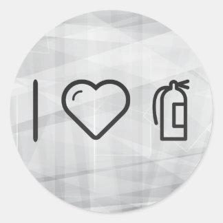 I Love White Extinguishers Round Sticker