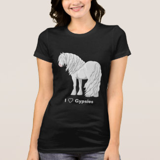 I Love White Gypsy Vanner Draft Horses T-Shirt