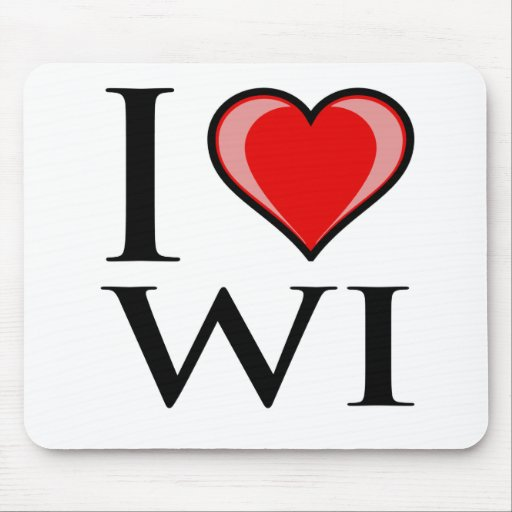 I Love WI - Wisconsin Mouse Pad