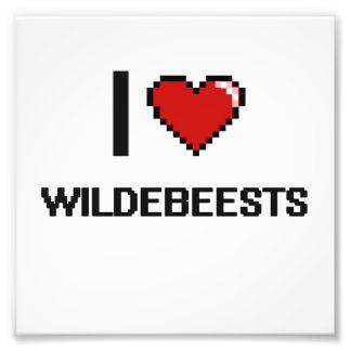 I love Wildebeests Digital Design Photographic Print