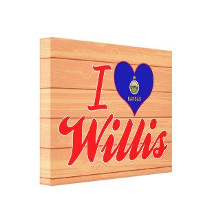 I Love Willis, Kansas Stretched Canvas Print