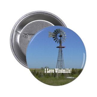 I Love Windmills! 2 Inch Round Button