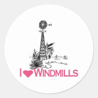 I Love Windmills Round Sticker