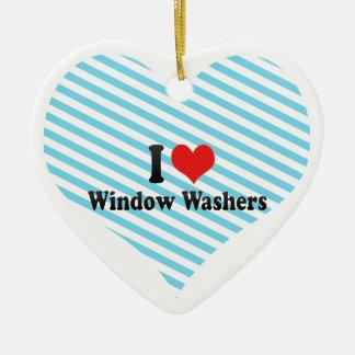 I Love Window Washers Ceramic Ornament