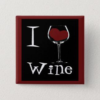 I Love Wine-Heart 2 Inch Square Button