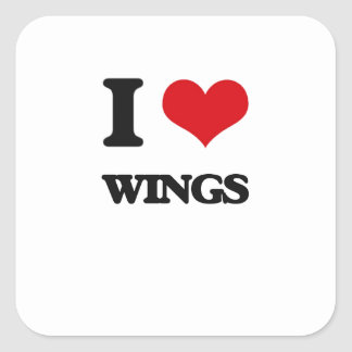 I love Wings Square Sticker