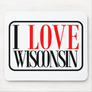 I Love Wisconsin Design Mouse Pads