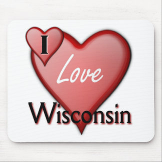 I Love Wisconsin Mouse Pads