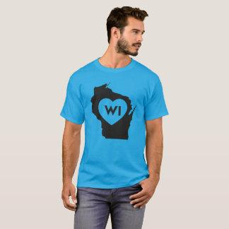 I Love Wisconsin State Men's Basic Dark T-Shirt