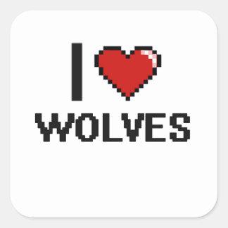 I love Wolves Digital Design Square Sticker