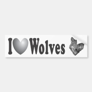 "I ""LOVE"" Wolves with Image - Bumper Sticker"