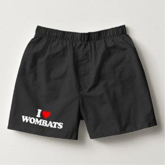 I LOVE WOMBATS BOXERS