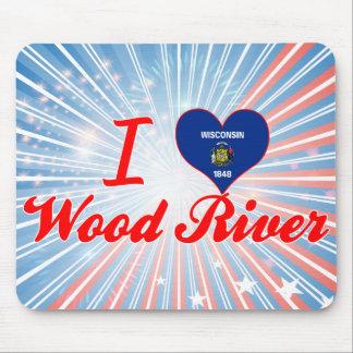 I Love Wood+River, Wisconsin Mousepad