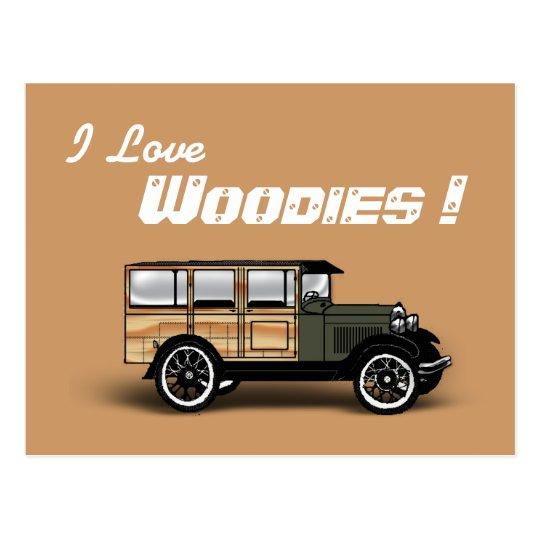 I Love, Woodies ! Postcard