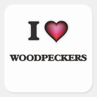 I Love Woodpeckers Square Sticker