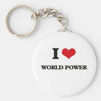 I Love World Power Keychain